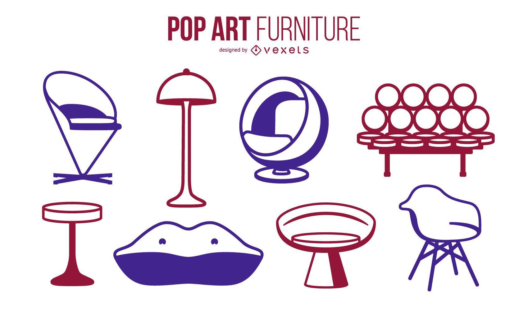Conjunto de trazos de muebles de arte pop