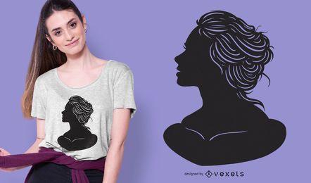 Design de camiseta com silhueta de busto feminino