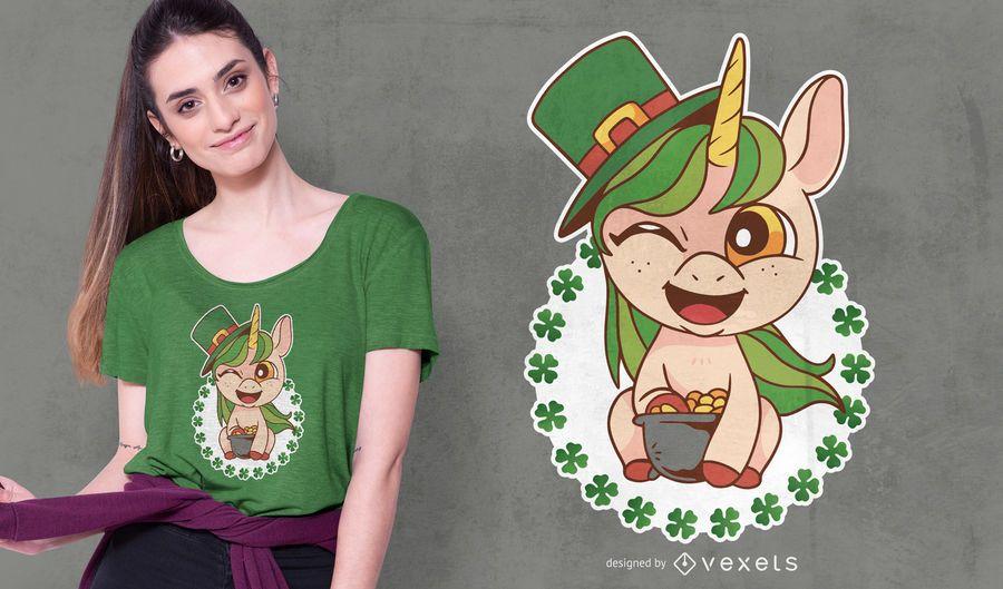 Diseño de camiseta de unicornio de San Patricio
