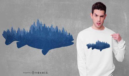 Projeto do t-shirt dos peixes da floresta