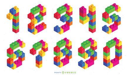 Conjunto de números isométricos de ladrillos de juguete