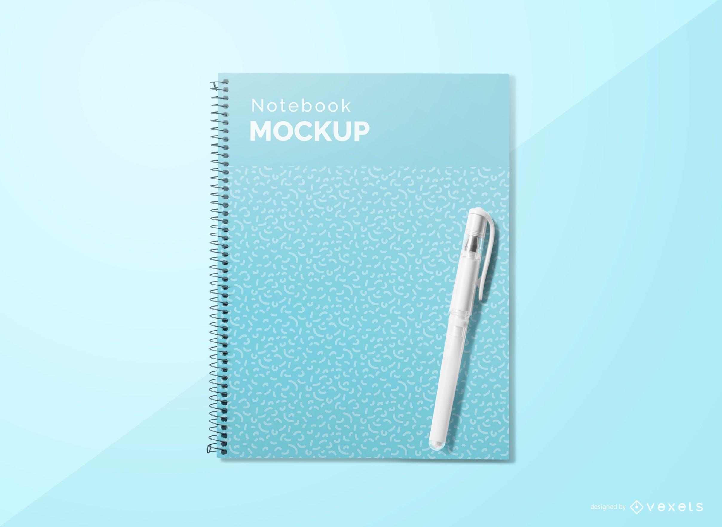 Maquete de caneta de capa de caderno
