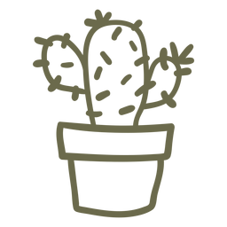 Cactus in a pot stroke