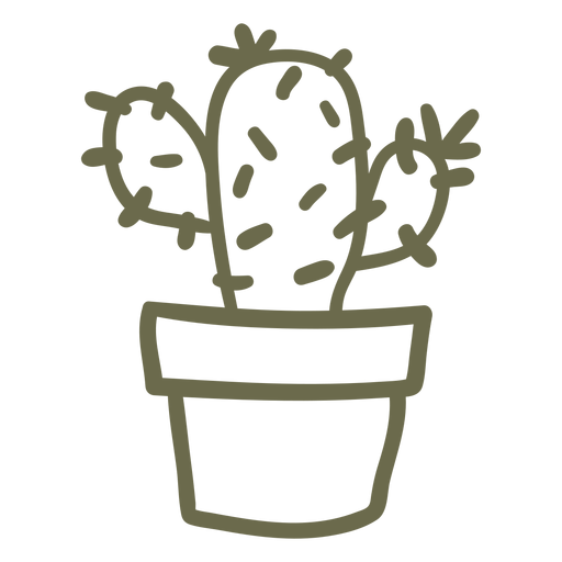 Cactus in a pot stroke Transparent PNG
