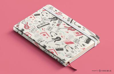 Diseño de portada de libro de elementos musicales