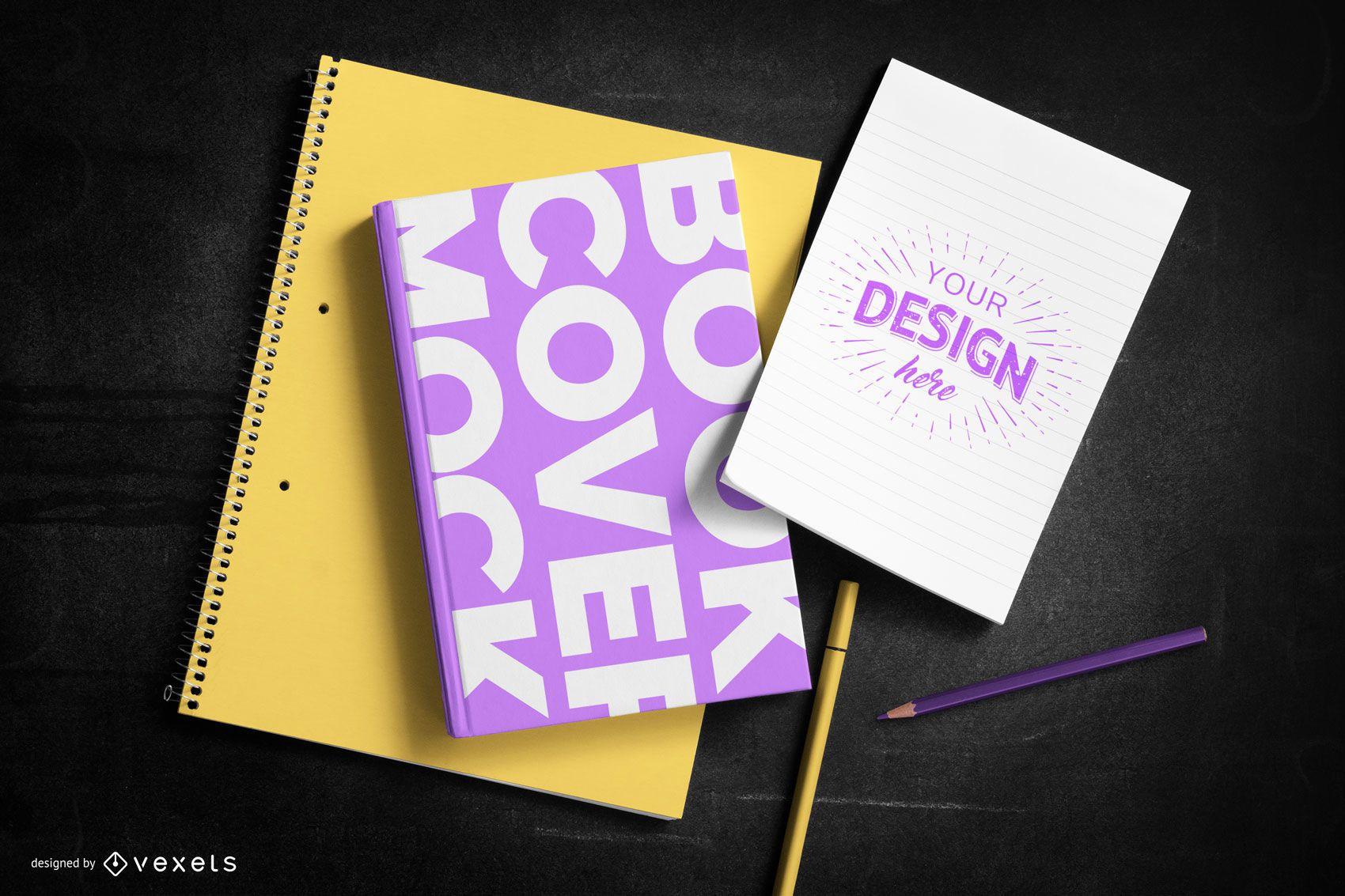 Composición de maqueta de papelería de portada de libro