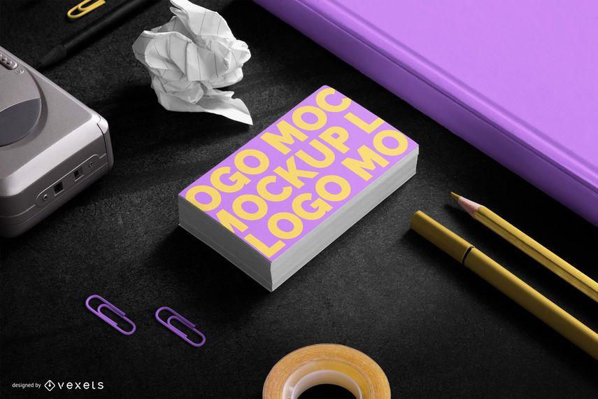 Composição de maquete de papelaria de cartões