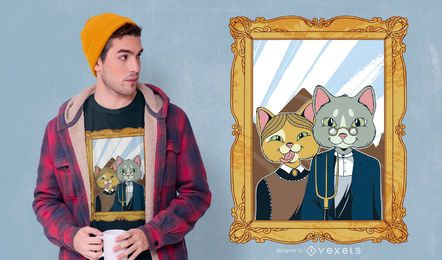 American Gothic Cat T-shirt Design