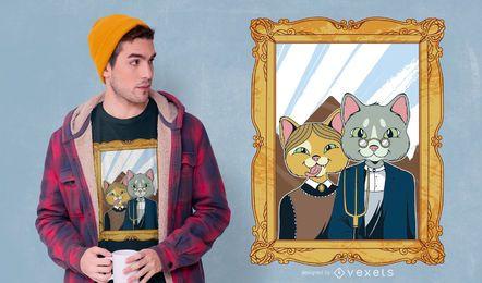 Diseño de camiseta American Gothic Cat