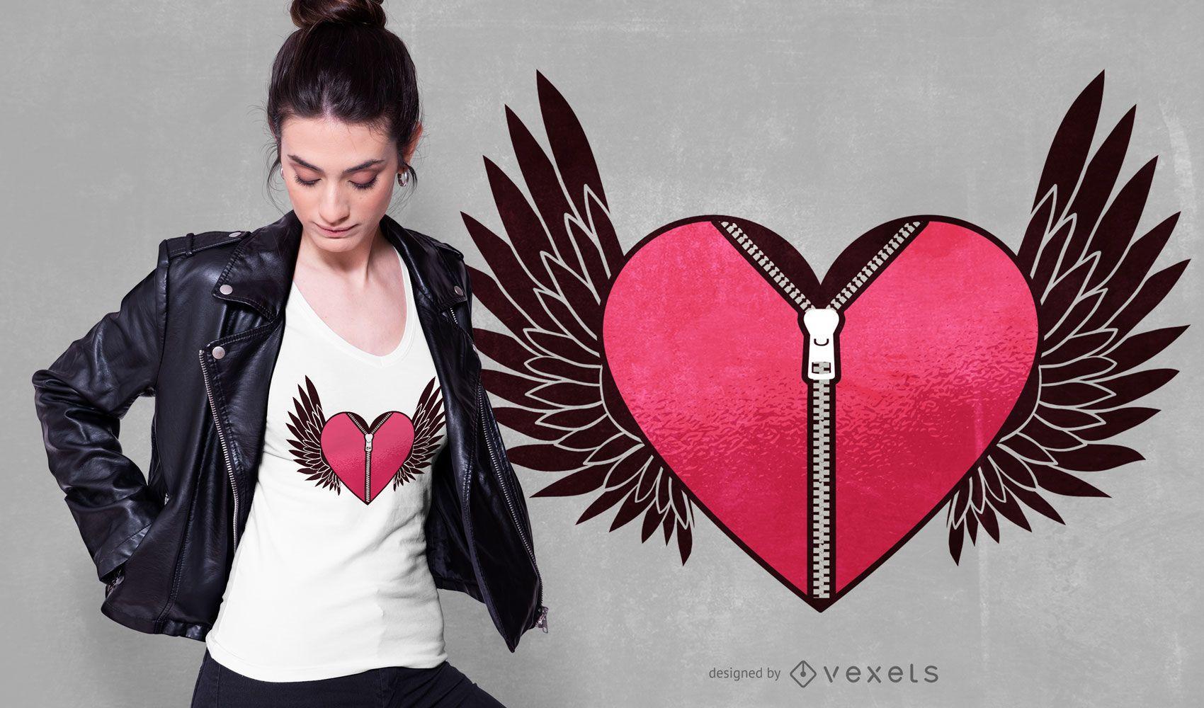 Flying Heart With Zipper T-shirt Design