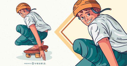Ilustração de personagem de patinação