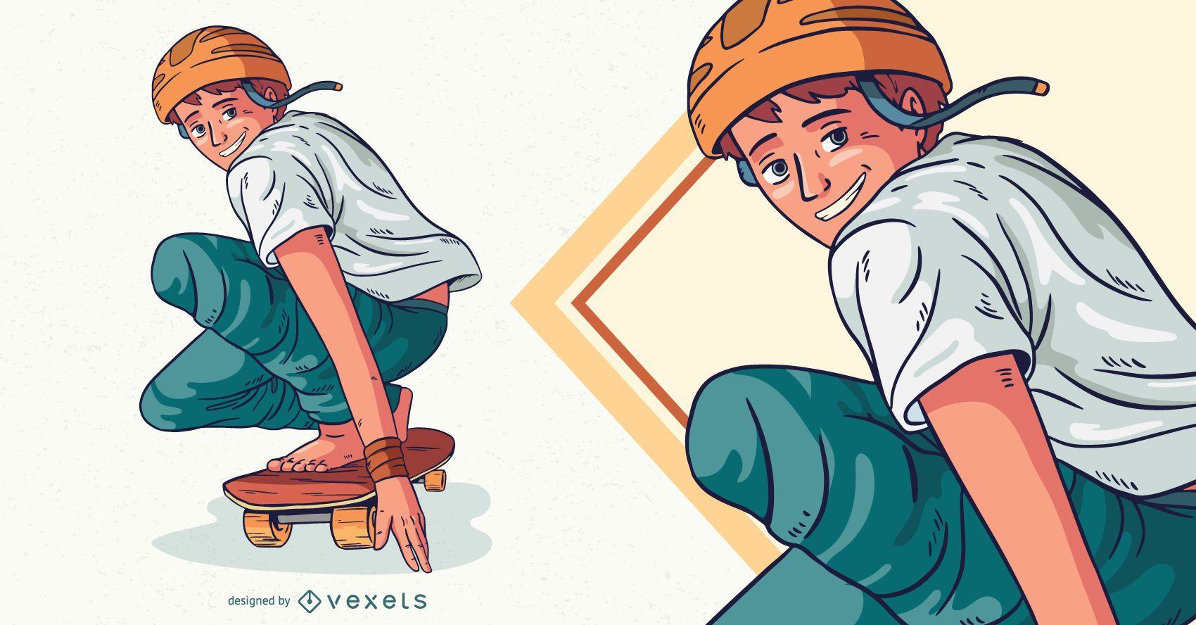 Ilustración de personaje de patinaje