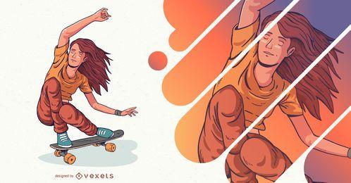 Ilustración de personaje de niña patinadora