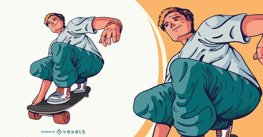 Ilustração de personagem de skatista