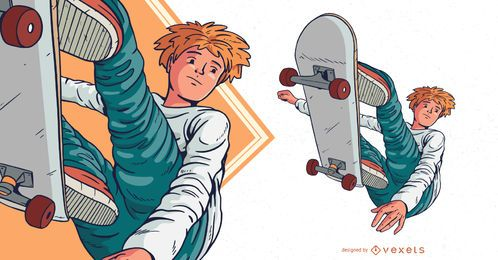 Skateboarding boy character illustration
