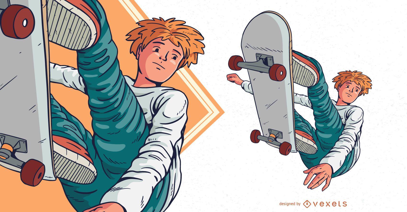Ilustración de personaje de niño de skate