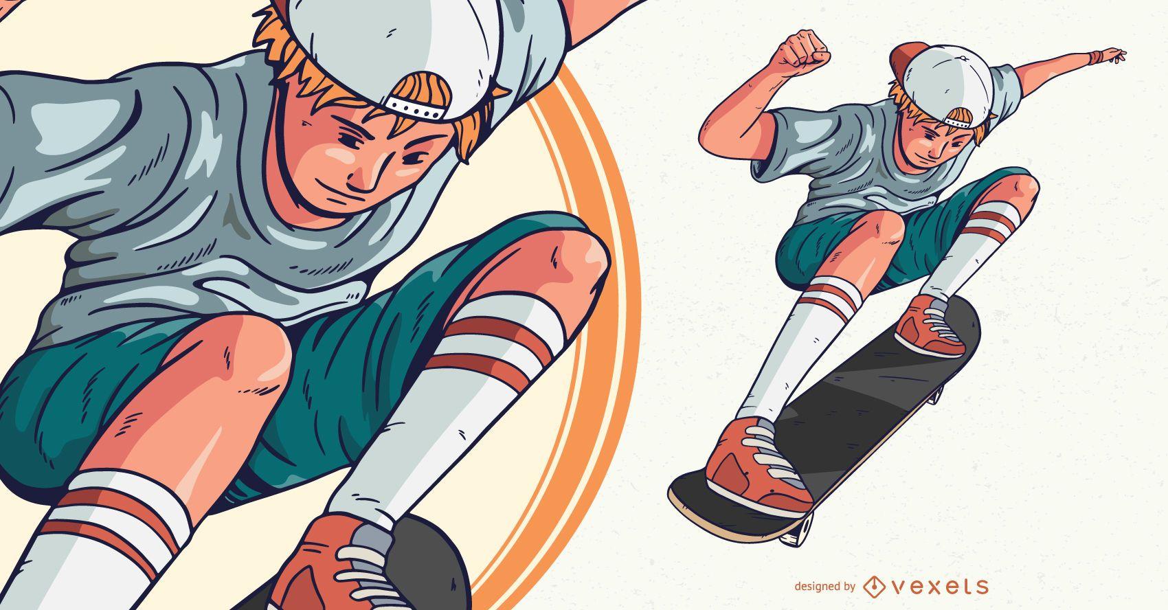 Boy skateboarding character illustration