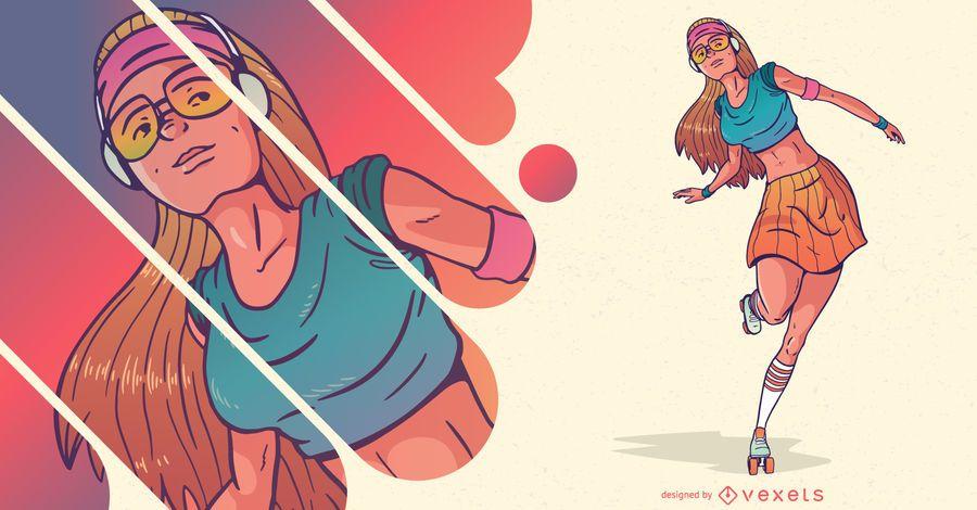 Roller skater personaje de mujer