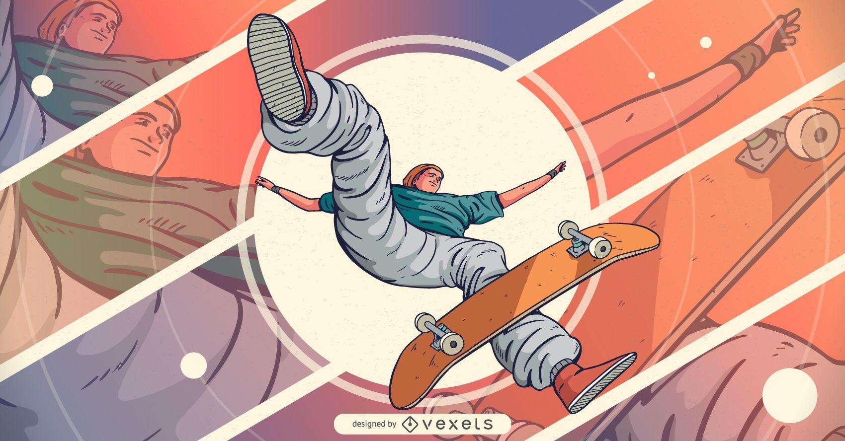 Ilustración de personaje de salto patinador