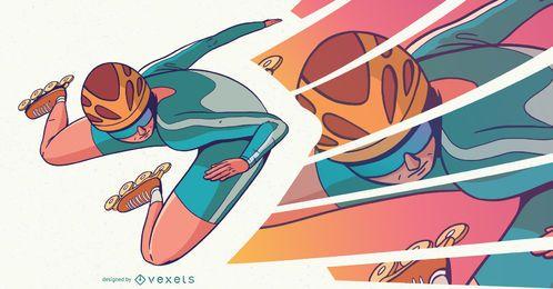 Diseño de personajes de patinaje sobre ruedas.
