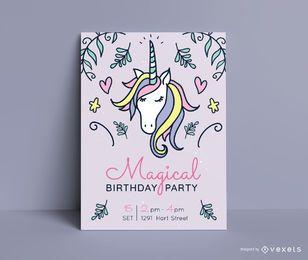 Einhorn-Geburtstagsfeier-Einladungsschablone