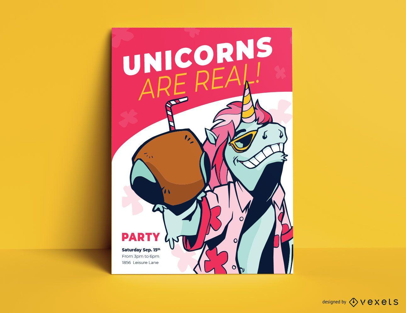 Plantilla de cartel de fiesta de unicornio