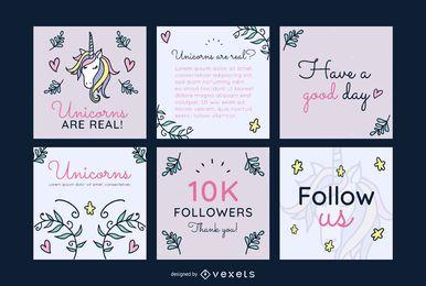 Conjunto de publicaciones de redes sociales de unicornio