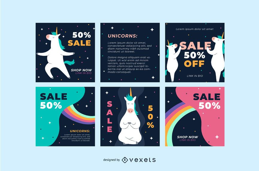 Unicorn social media post templates