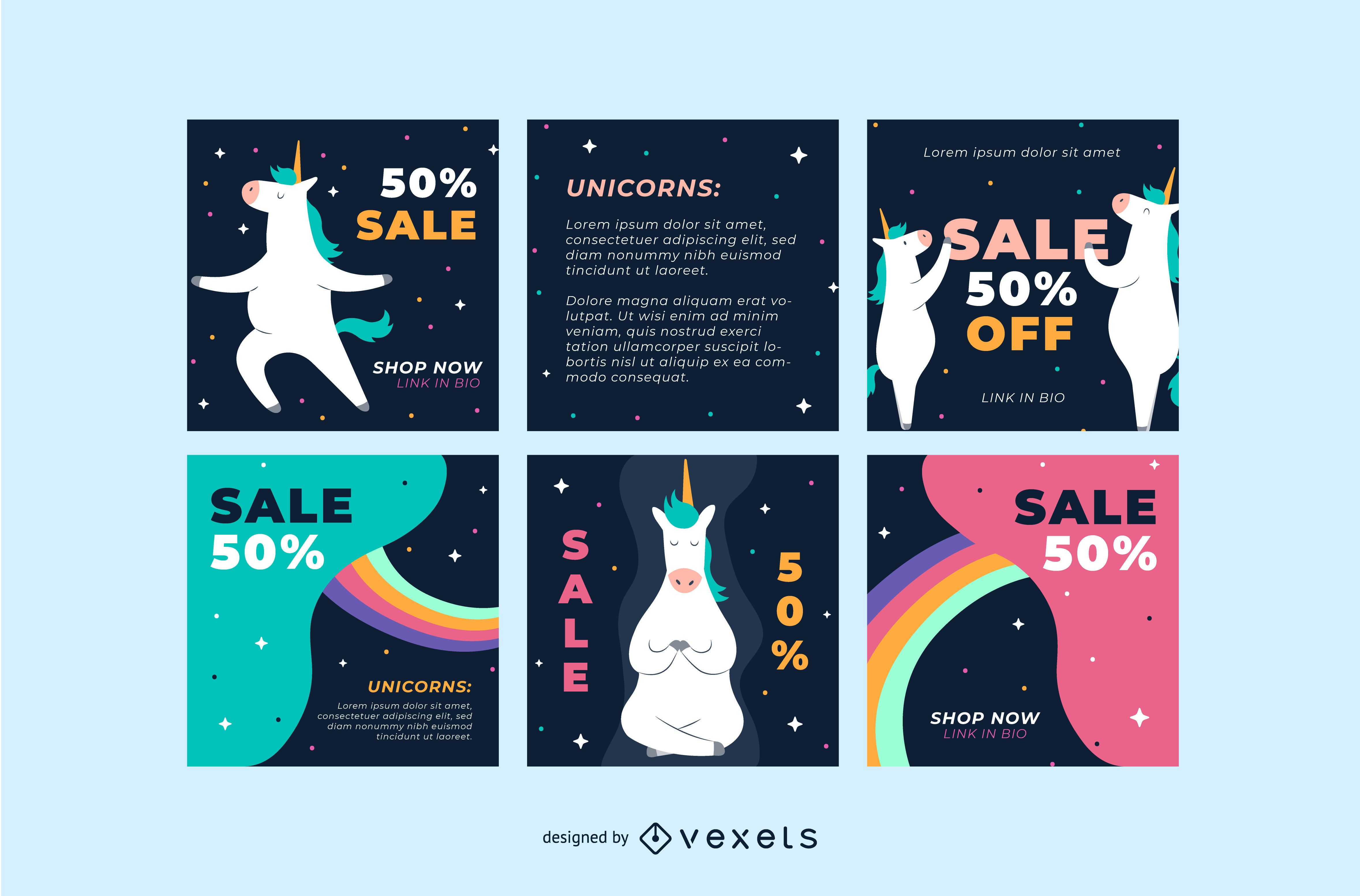 Unicorn social media post templates