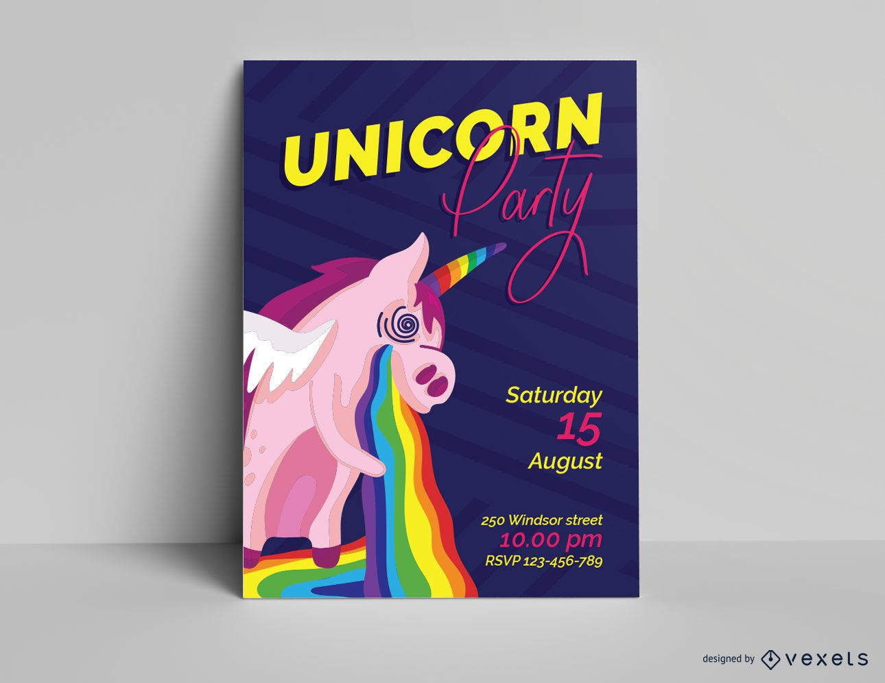 Plantilla de invitación de fiesta de unicornio