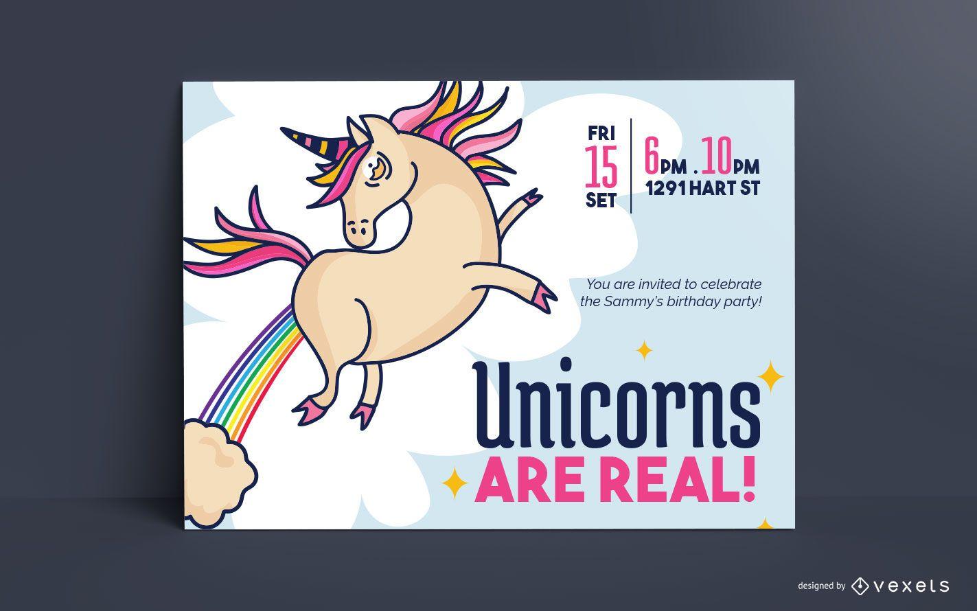 Plantilla de tarjeta de cumpleaños de unicornio