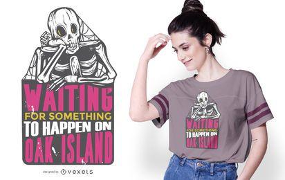 Diseño de camiseta esqueleto esperando