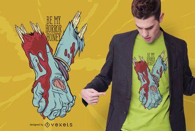 Diseño de camiseta de amor zombie
