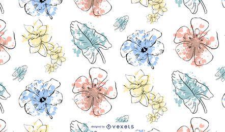 Design de padrão de flor em aquarela