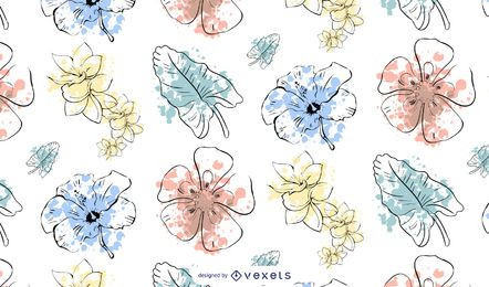 Projeto de padrão de flor em aquarela