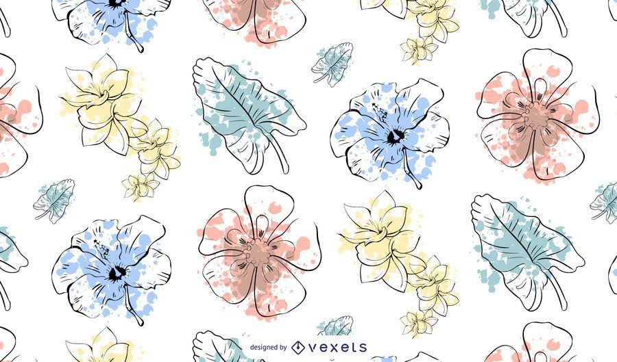 Watercolor Flower Pattern Design
