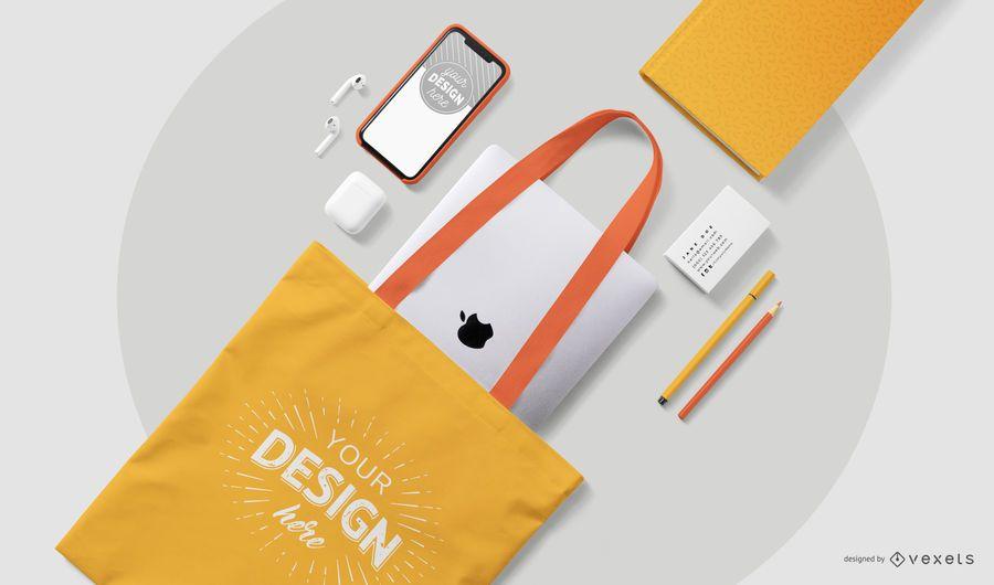 Tote bag stationery mockup composition