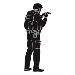 Police holding gun silhouette