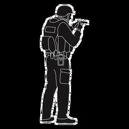 Polizei, die Gewehrschattenbild hält