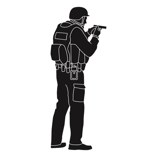Police holding gun silhouette Transparent PNG