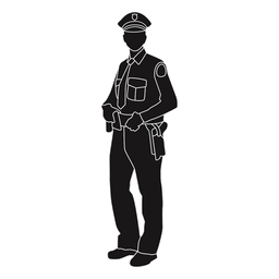 Police holding belt silhouette