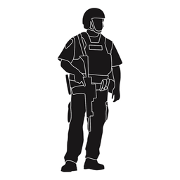 Police geared-up silhouette