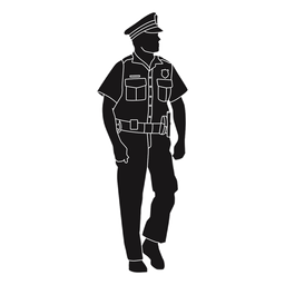 Polizei sucht auf der Seite Silhouette