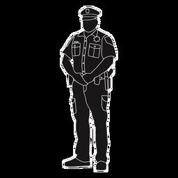 Polizei mit den Händen in der vorderen Silhouette