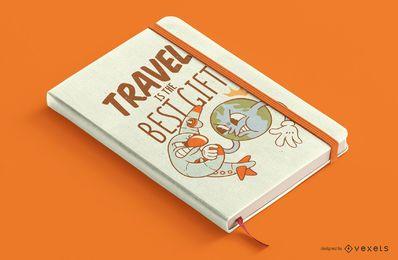 Desenho da capa do livro de viagens de desenhos animados