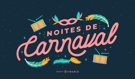 Design de citações portuguesas de noites de carnaval