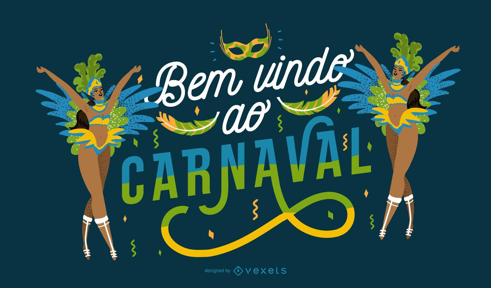 Welcome to Carnival Portuguese Quote Design