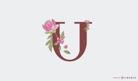 Modelo de logotipo floral com letra u