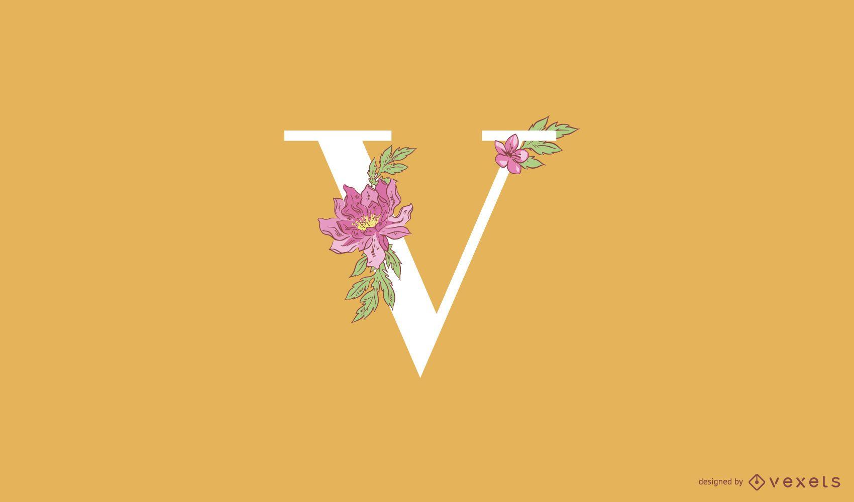 Modelo de logotipo floral letra v