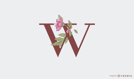 Modelo de logotipo letra w floral